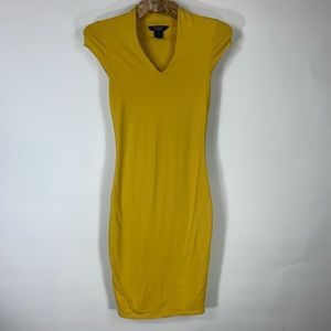 Mustard Fitted BodyCon Dress Sz Small